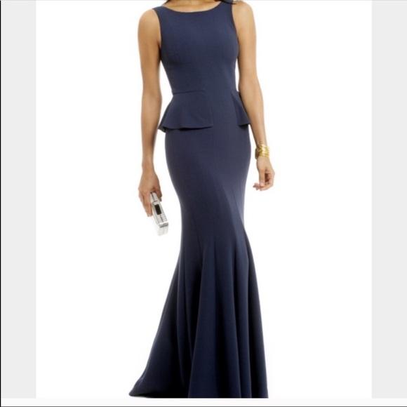 BCBGMaxazria Midnight Peplum Gown